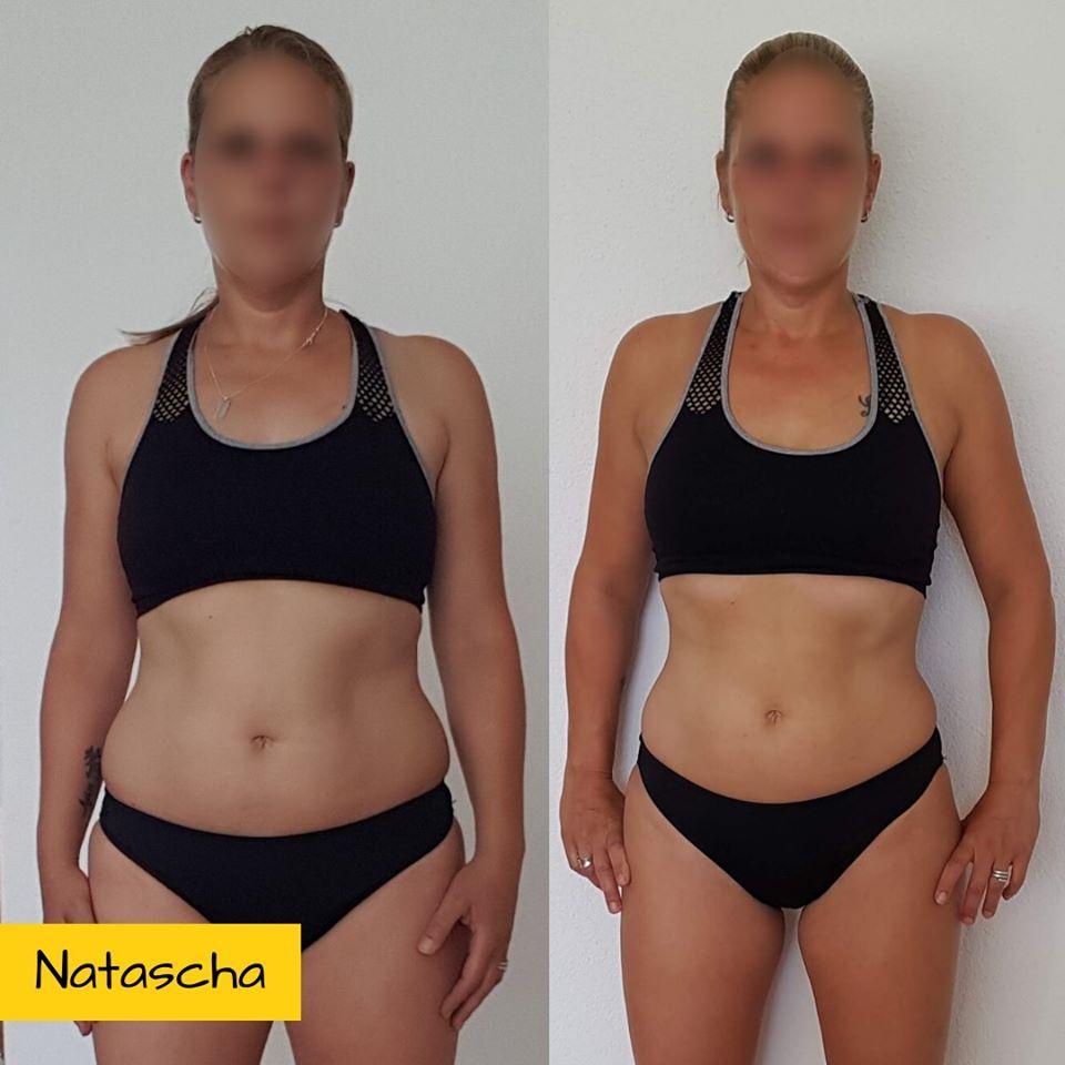 Droog Trainen Protocol Vrouwen. Foto van Natasja voor en na de training.