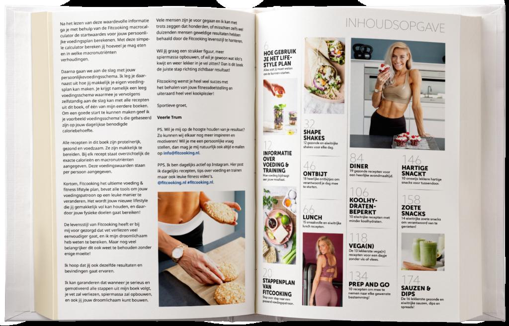 Fitcooking Lifestyle Programma. Foto van 2 blaszijden uit het boek.