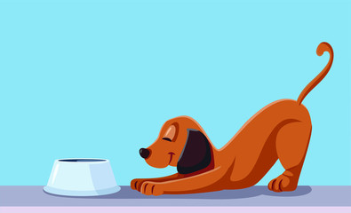 Labradoodle verzorging. Plaatje van hond met voerbak.